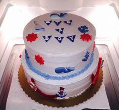 Nautical, navy, sea, anchor, ocean, blue, red , net, stripes , sea life , whales , ship, boat, captain, birthday , baby shower , boy , party , event , Deirdre Cakes