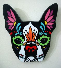 Pull those ears down & add buggy eyes for Milli ! Sugar Skull Painting, Sugar Skull Art, Sugar Skulls, Swedish Tattoo, Boston Terrier Love, Boston Terriers, Day Of The Dead Art, Mexican Art, Rock Crafts