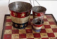 vintage patriotic sandpails