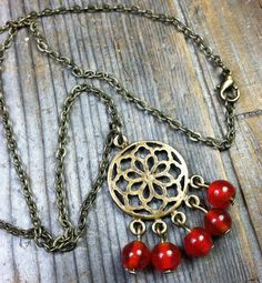 Passion Necklace (red, antique brass / gold metal, pendant charm, chain) by MySoulCanDance on etsy