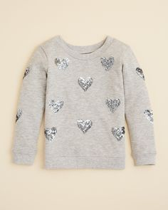 AQUA Girls' Sequin Heart Sweatshirt - Sizes 4-6X | Bloomingdale's