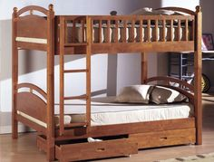 A Collection Of Cool Teenage Bunk Bed Ideas : Classic Nature Wood Teenage Bunk Bed Decorating with Drawers Underneath and Beige Bedding