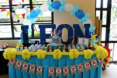 Nautical-themed party decor