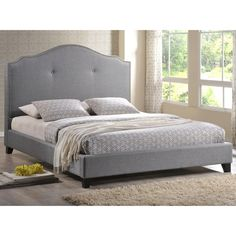 Marsha Scalloped Gray Linen Headboard Full-size Modern Bed | Overstock.com Shopping - The Best Deals on Beds