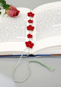 Crochet Bookmark, Wrap Around style with red fl...