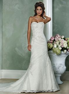 Gorgeous Satin White A-Line Sweetheart Strapless Beaded Wedding Dresses