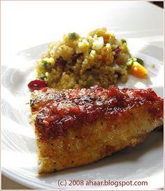 Fried catfish with cranberry relish. Recipe at ahaar.blogspot.com