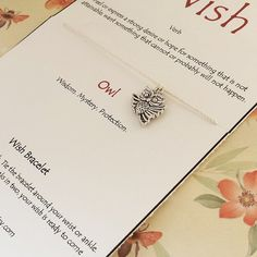 Owl wish bracelet by DreamWillowStudio on Etsy @dream_willow  https://www.etsy.com/listing/244639980/owl-wish-bracelet-three-wishes-bracelet