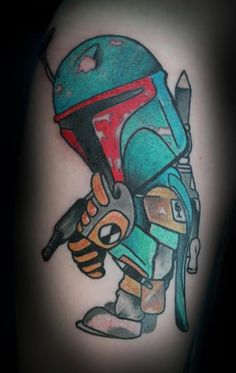 My Boba Fett tattoo done by Tivis Phillips at Danny's Ancient Art in Blacksburg, Va. Basically just a representation of my Star Wars and the Fett man.