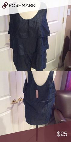 Tiered denim tank top Tag attached. Never worn. Banana Republic Tops Tank Tops