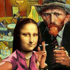 Tagged with Funny; Shared by mona Lisa and van gogh. collage by Barry kite Psychedelic Art, Pop Art, Collages, Graffiti Kunst, Art Du Collage, Street Art, Mona Lisa Parody, Photocollage, Arte Pop