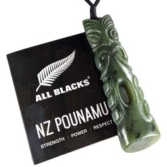 This hei teko teko is very unique, carved onto the a beautiful New Zealand pounamu pendant, an awesome coloured piece, Officially Licenced by the All Blacks.