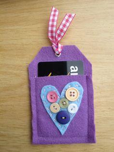 Felt Heart Gift Card Holder Tag by InthePumpkinPatch on Etsy, $5.00