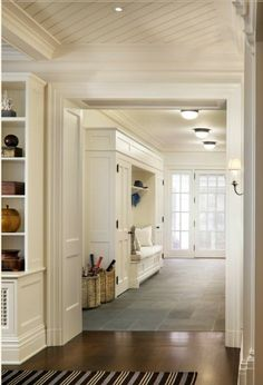 10 Tips How To Build A Lightweight House Decoration Design Beautiful entryway with mudroom built-ins surrounding a bench with white seat … The Best of home design ideas in House Design, Mudroom, House, Mudroom Design, Hamptons House, House Styles, Luxury Homes, New Homes, House Interior