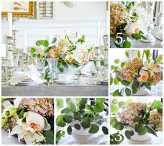 blush cabbage roses, pink hydrangeas, white stargazer lilies, small, white calla lilies,  white astilbe, eucalyptus COMPANY'S COMING CENTERPIECE AND TABLESCAPE