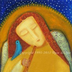 Angel in the Morning primitive religious folk art archival giclée print by Pennsylvania folk artist Rose Walton