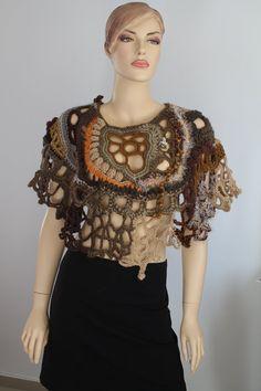 Chunky Freeform Crochet Poncho - Wearable Art