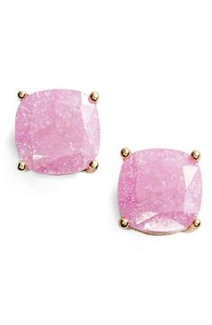 Putting on the finishing touch with these adorable candy-colored square stud earrings from Kate Spade!