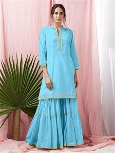 Sky Colored Glorious Rayon Sharara Pant and Kurta With Gotta Patti - Eid Special Embroidery On Kurtis, Kurti Embroidery Design, Festival Wear, Festival Fashion, Designer Kurtis Online, Kurti Styles, Latest Kurti, Embroidered Kurti, Long Kurtis