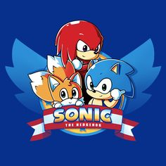 "Sonic & Tails & Knuckles - This official Sonic the Hedgehog t-shirt featuring Sonic the Hedgehog, Miles ""Tails"" Prower & Knuckles is only available at TeeTurtle!"