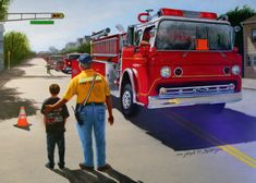 This image depicts a Fire Parade with a Fire-Police officer watching the parade at the end with a young child. The truck can be personalized to a specific fire company or department Firefighter Images, Police Officer, Trucks, Children, Dibujo, Young Children, Boys, Truck, Kids