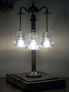 Antique Glass Art Original Lineman Telegraph Glass Insulator Table Lamp History | eBay