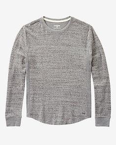 mesh waffle long sleeve crew neck shirt