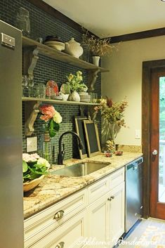 Sharing our complete rustic chic kitchen renovation!  Open shelving brightens this small space and creates lots of room for accessorizing from HomeGoods!  Sponsored by HomeGoods.