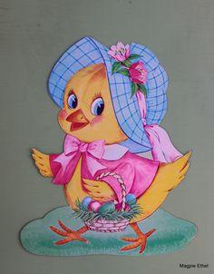 """1970 Dennison 'Easter Chick' Die Cut Decoration. Three Sizes: 6 3/4"""", 10 3/4"""", 16"""""""