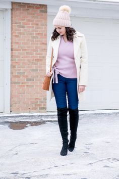 Lavender Knot Hem Sweater and Pink Beanie Winter Outfit | A Classic Ambition