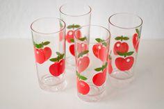 Appel glazen - Limonadeglazen - retro - Gulf France - Glasses - Vintage - Apple Pint Glass, Beer, France, Apple, Wine, Glasses, Tableware, Vintage, Root Beer