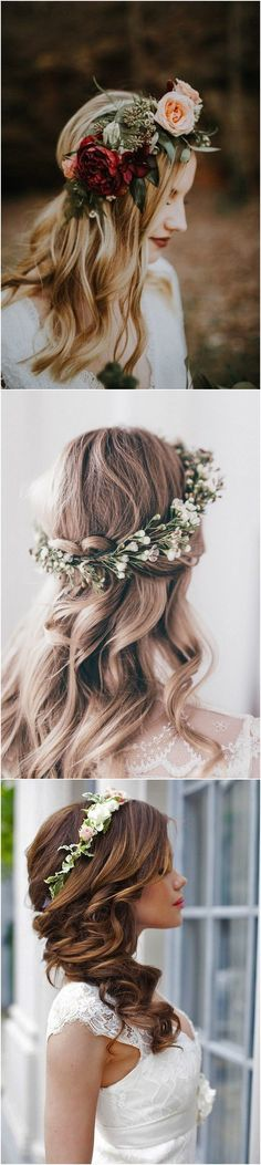 Wedding hairstyle ideas with flower crown #wedding #weddinghairstyles #weddingideas #weddingcrowns #weddinghairstyleswithflowers