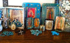 CUSTOM ORDERS Lady of Guadalupe Virgen de Guadalupe Wood Assemblage Nicho Mixed Media Shrine
