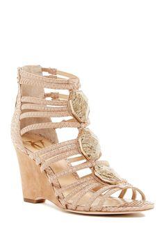 45f439fc1ea Emile Genuine Snakeskin Wedge Sandal Me Too Shoes