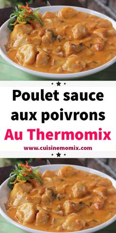 Poulet sauce aux poivrons au Thermomix - The Best For Dinner Recipes Crockpot Recipes For Two, Pureed Food Recipes, Lunch Recipes, Healthy Dinner Recipes, Whole Food Recipes, Chicken Recipes, Senegalese Recipe, Prep & Cook, Cooking