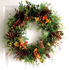 Fall Wreath Autumn Wreath Grapevine Wreath by WeddingsAndWreaths Autumn Wreaths, Christmas Wreaths, Christmas Decorations, Holiday Decor, Wreaths For Front Door, Door Wreaths, Grapevine Wreath, Thanksgiving Flowers, Southern Living Christmas
