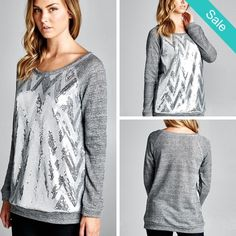 SALE 1 Small 1 Medium and 1 Large left Silver Chevron Sequin Sweater - On Sale for $25.00 (was $36.00) free shipping  Comment to order or head to our website  www.texastwoboutique.com