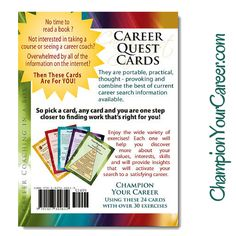 Last minute shopping for someone career focused? Great set of cards to help get focused now! ChampionYourCareer.com Career Search, Thought Provoking, Books To Read, Coaching, Thoughts, Reading, Cards, Shopping, Training