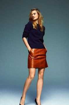 The LEATHER Skirt - A-LINE, TRUE WAIST SKIRT - Whisky - MiH Jeans