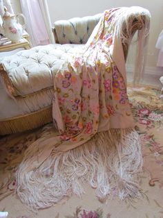 Antique Embroidered Silk Flower Piano Shawl