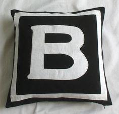 Custom made monogram pillows -18 inch -black and white
