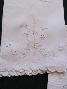 2 Vintage Solid White Cotton Huck Linen Kitchen by TotallyLinens