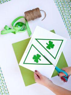Homemade St. Patrick's Day Banner >> http://www.hgtv.com/design/make-and-celebrate/handmade/printable-banner-for-st-patricks-day?soc=pinterest