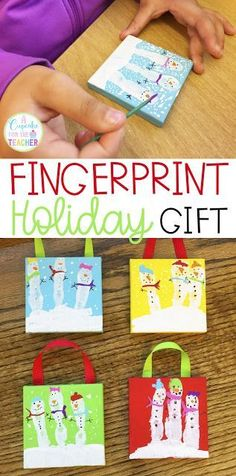 Holiday Gift for Parents from Kids Fingerprint Christmas Gift Fingerprint Snowman Handmade Gift