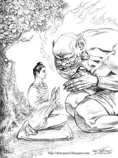 Not even demons can break the Buddha's equanimity🙏🏻 Buddha Tattoo Design, Buddha Tattoos, Buddha Life, Buddha Art, Pichwai Paintings, Spiritual Paintings, Thailand Art, Gautama Buddha, Thai Art