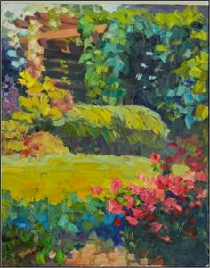 The Pergola At Chanticleer , Oil On Canvas, Pergolas, Chanticleer, Main  Line Gardens, Palette Knife Paintings, Philadelphia MAin Line, Gardens,  Painting By ...