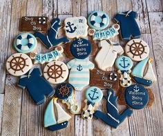 "123 Likes, 12 Comments - Erica De La Fe (@cookieobsessions) on Instagram: ""Ahoy,  it's a boy! Nautical theme cookies to welcome Baby Abric and shower him with love and gifts…"""