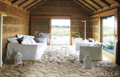 A traditional Portuguese fishing hut, renovated for modern living by Aires Mateus and Assoc. The sand floor is warmed by a radiant-heat system.O Elle Decor. Cabana, Living Area, Living Spaces, Living Rooms, Sand Floor, Sweet Home, Lounge, Beach Cottages, Beach Houses