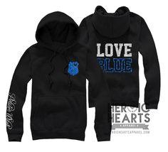 Love Blue LEO Hoodie - Heroic Hearts Apparel