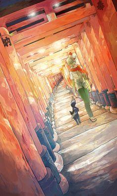 Tags: Anime, Pixiv Id 1139894, Akaya Akashiya Ayakashino, Kurogitsune, Yue (Akaya Akashiya Ayakashino), Fox Mask, Green Pants